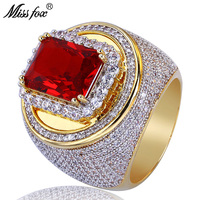 MISSFOX Hip Hop Big Square Ruby Men'S Ring Square Loop CZ Diamond Decorated 18k Gold Ring Luxury Brand High End Gift Men Jewelry