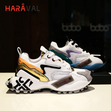 HARAVAL Spring and autumn wild Single shoes leather  color matching women sneakers casual breathable Harbor wind N82