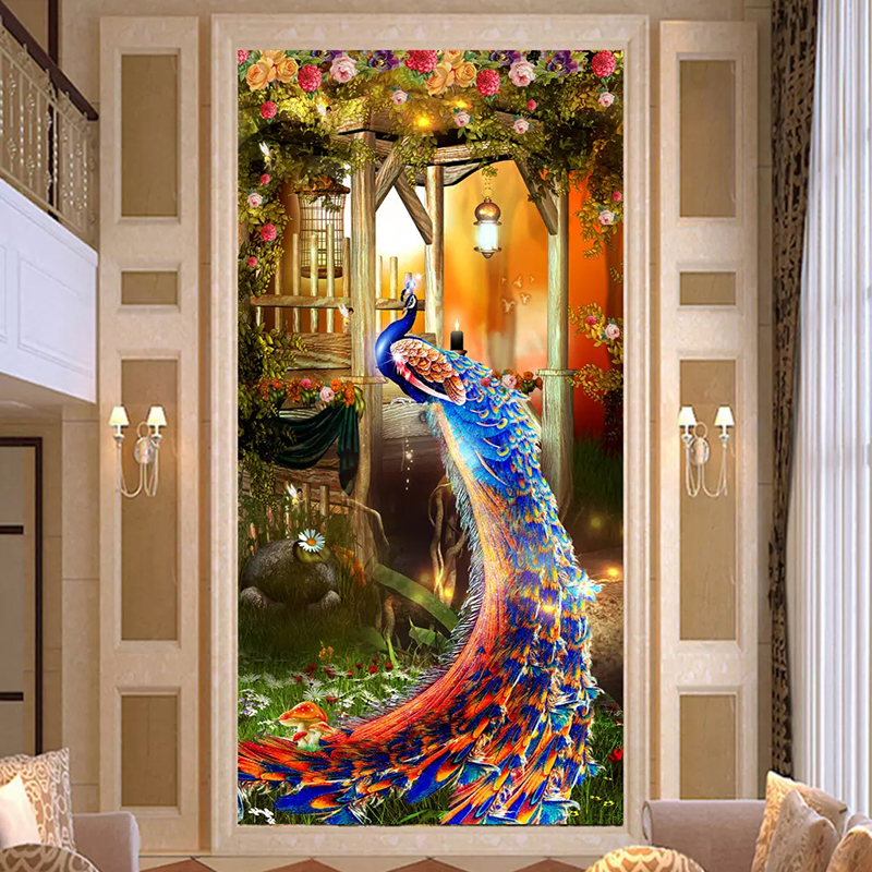 Custom Photo Mural Wallpaper 3d Peacock Living Room Entrance Hall Corridor Backdrop Decoration Painting Wall Art Papel De Parede Leather Bag