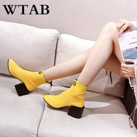 WTAB NEW knit autumn winter boots women shoes 2018 Square heel Ankle shoes Woolen Basic boots Slip On botas mujer women boot