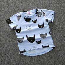 Summer Brand New Kids Clothes Boys Girls T-shirt Tops Cotton T-shirt Repeating Cat Seals Baby T-Shirts Tees 3 colors ZX204