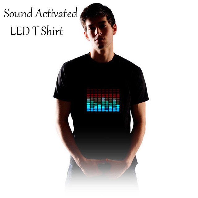 Новый Звуковой Активации СВЕТОДИОДНЫЕ Футболки Мужчин Свет Мигает Мода EL LED Футболка Для Рок Disco Party DJ Tshirt AC44-BZ