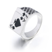 FUNIQUE 2019 Men's Ring Vintage Personality Spades A Heart Shaped Poker Rings For Men Jewelry Silver Color male Ring(China)