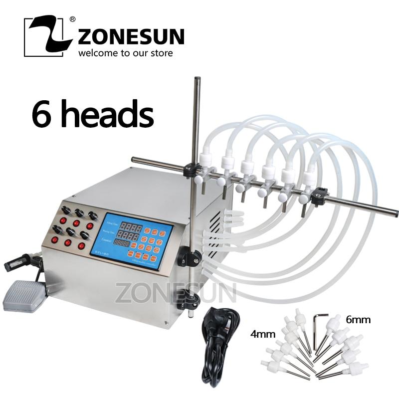 ZONESUN Electric Digital Control Pump Liquid Filling Machine 3-4000ml for Liquid Perfume Water Juice Essential Oil With 6 Heads small bottle filling machine