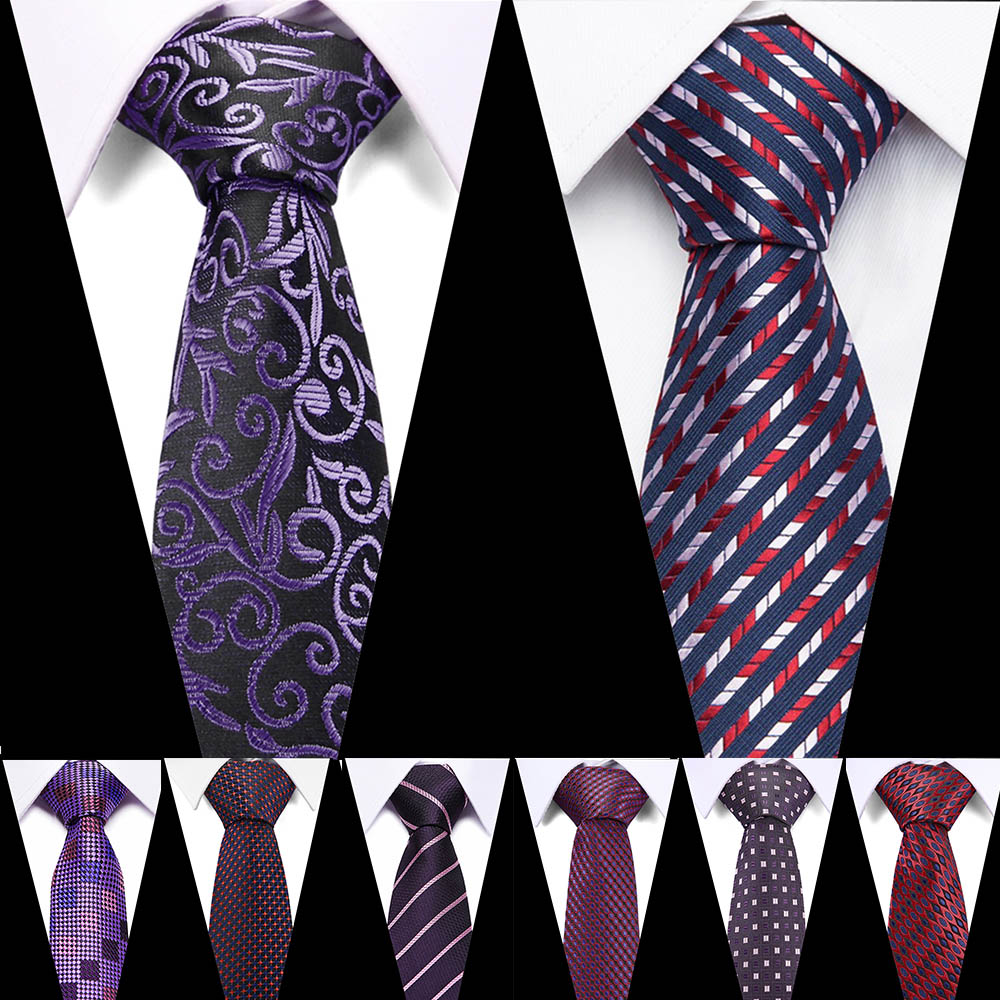 Fashion Purple Tie For Men Polyester Jacquard Red Necktie For Wedding Business Suits 7.5cm Skinny Wide Neck Ties Slim Gravatas
