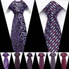 Fashion Purple Tie For Men Polyester Jacquard Red Necktie for Wedding Business Suits 7.5cm Skinny Wide Neck Ties Slim Gravatas цена