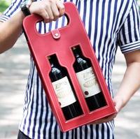 Luxe Draagbare PU Lederen Dubbele holle-out Rode Wijnfles Draagtas Verpakking Case Gift Opslag Dozen Met Handvat