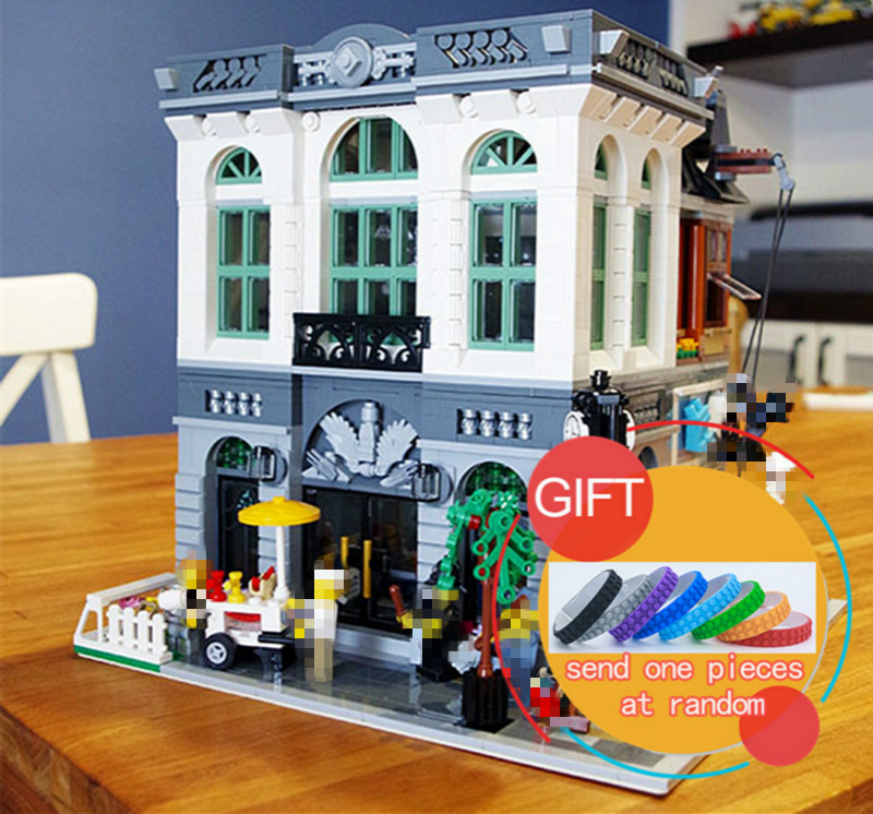 15001 2413pcs Brick Bank Model Building Kits Blocks Compatible With 10251 toys lepin compatible legoed lepin 15001 city street bank model building kits blocks bricks kits education toys for children gifts 10251
