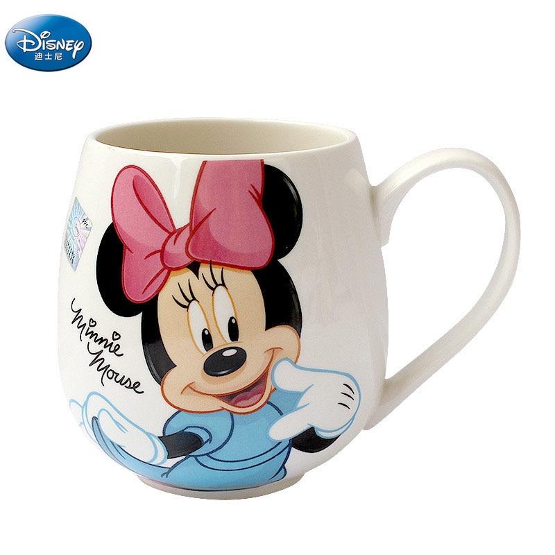 Disney 300 ml dos desenhos animados mickey minnie caneca copos de cerâmica meninos meninas jardim de infância garrafa café da manhã copo crianças presente