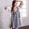 Новая мода одеяние устанавливает платье естественный цвет пижамы цветочный принт пижамы половина мягкие атласные шелковые женские ночные рубашки