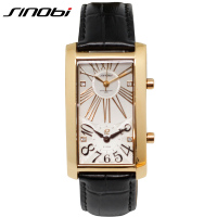 SINOBI Gold Business Couples Wristwatch 2018 Dual Movement Lover Watches Top Quality Business Luxury Rattrapante Watch Man