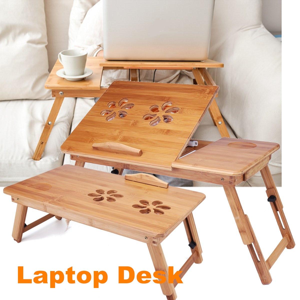 Bambou ordinateur portable bureau lit bureau bureau pliant livre lecture petit déjeuner plateau de service avec trous de refroidissement petit tiroir 2 taille