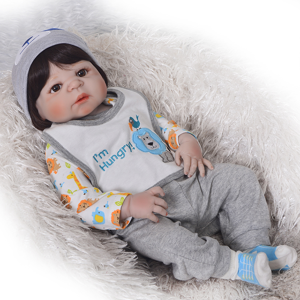 Réaliste Garçon Bonecas Reborn Bébés Poupées Pour Vente Mode Plein Silicone Vinyle Baby Doll 23 pouce Porter Des Vêtements bebe D'anniversaire cadeau