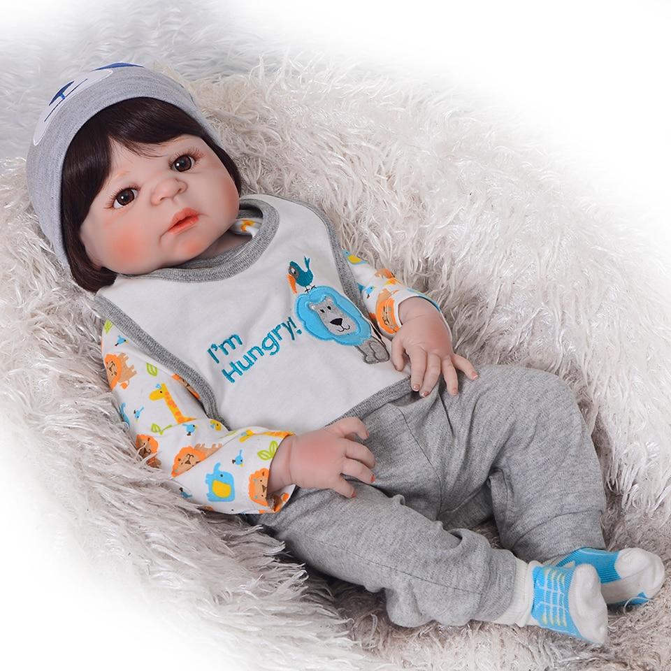 Realistische Junge Bonecas Reborn Babys Puppen Für Verkauf Mode Volle Silikon Vinyl Baby Puppe 23 zoll Tragen Kleidung bebe Geburtstag geschenk