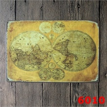 Buy metal world map and get free shipping on aliexpress 20x30cm tin sign wall decor retro metal bar poster beer old ancient world map globe gumiabroncs Gallery