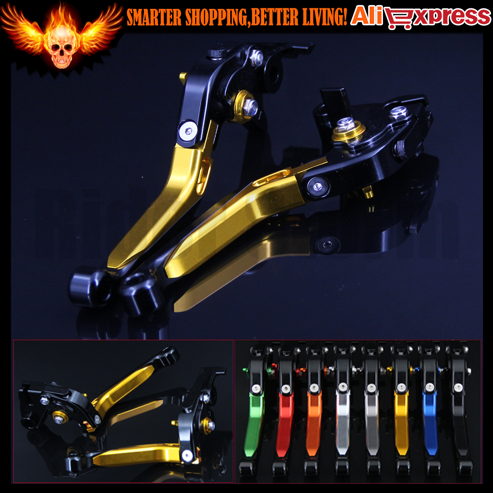 (Folding&Extendable)CNC Gold Motorcycle Brake Clutch Levers For Moto Guzzi BREVA 1100 2006 2007 2008 2009 2010 2011 2012 gt motor f 16 dc 80 adjustable cnc 3d extendable folding brake clutch levers for moto guzzi breva 1100 norge 1200 gt8v