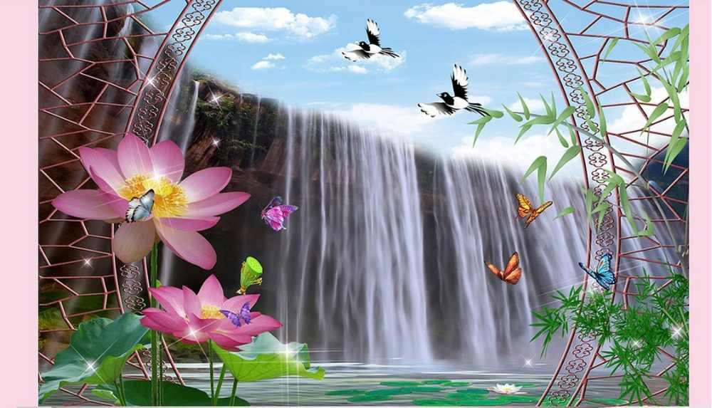 Fond d'écran de luxe papier peint mural 3d personnalisé Lotus tombe TV toile de fond photo mur salon de luxe