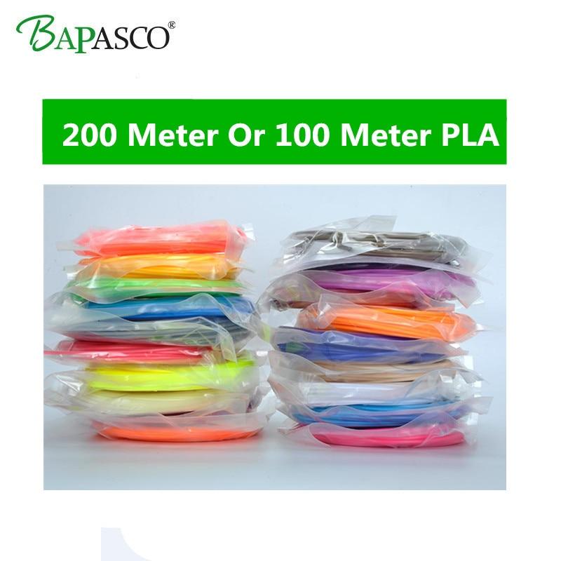 NEW Bapasco 1.75mm PLA Filaments For 3D Pen 20 Packs 100 Meter(5M/Color) Or 200 Meter(10M/Color) PLA Materila Plastic wire rod