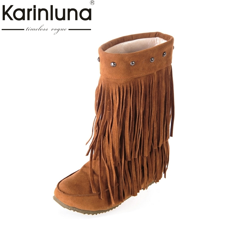 Women Tassle Boots Fringe Flat Heels Half Knee High Boots Punk Style Rivet Decoration Slip On Winter Fur Shoes Snow Boots doratasia big size 34 43 women half knee high boots vintage flat heels warm winter fur shoes round toe platform snow boots