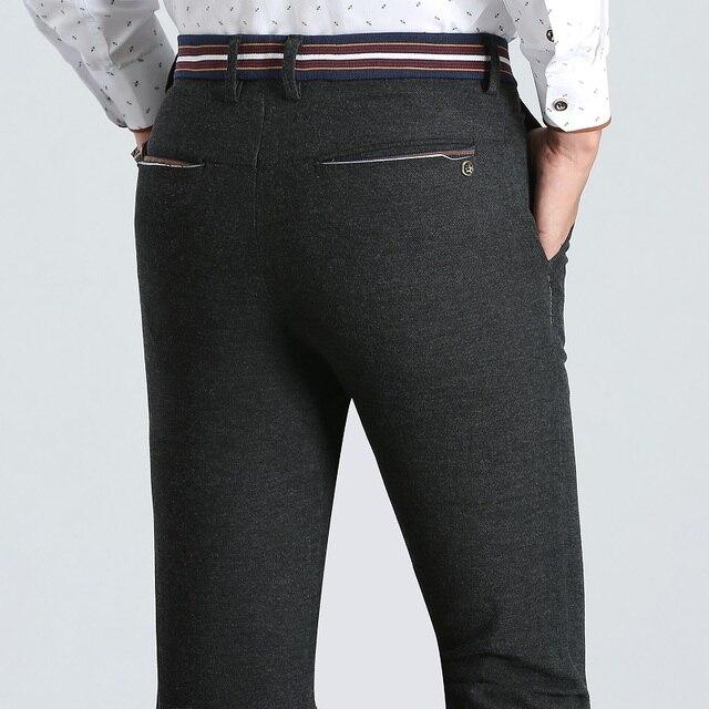 a775c4b3f2a Fashion Brand Clothing Men s Casual Pants Men Sanding Fabric Cotton Slim  Trousers Business Classic Black Khaki