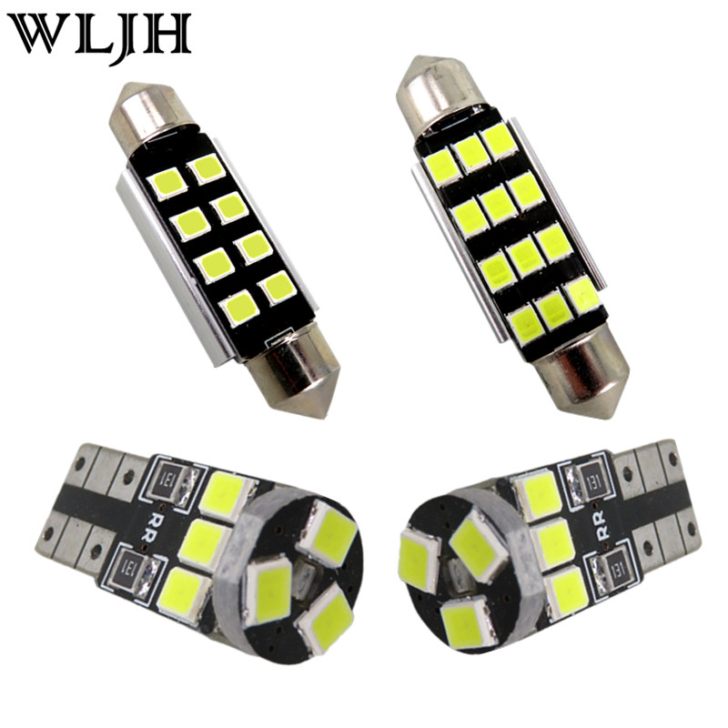 WLJH 11x Canbus Error Free Led Light Car Interior Dome Bulb For Volkswagen GOLF 6 VI GTI MK6 LED Interior light Kit 2010 - 2014 wljh 2x canbus led 20w 1156 ba15s p21w s25 bulb 4014smd car lamp drl daytime running light for volkswagen vw t5 t6 transporter