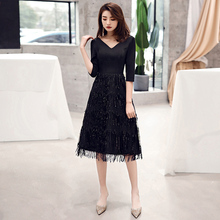 2019 Women Sexy Tasse Evening Dresses V-Neck A-Line Short Sleeve Casual Midi Party Dress Robe de Soiree LF248 women ruffle layered v neck dresses casual high waist flare sleeve a line dress 2019 summer fashion vintage printed dresses