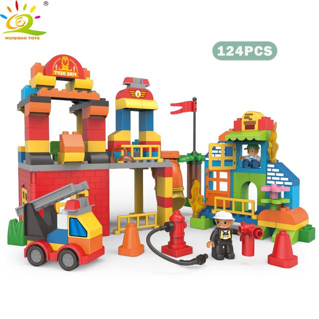 HUIQIBAO 124pcs DIY Big Size City Fire Station Building Block Compatible Duploe Truck Brick Firefighter Figure Toys For Children