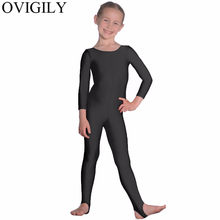 OVIGILY Meisjes Shiny Stijgbeugels Dance Gymnastiek Unitards Catsuits Childrens Nylon Lycra Lange Mouwen Ballet Unitard Dancewear Kids(China)