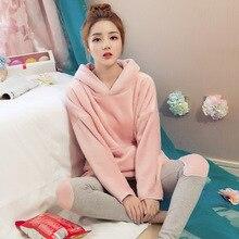 Brand Winter Ladies Hooded Pajama Sets Pink Sleepwear Pajamas Girls Night Homewear Femme Women Coral Fleece Thickening Nightgown