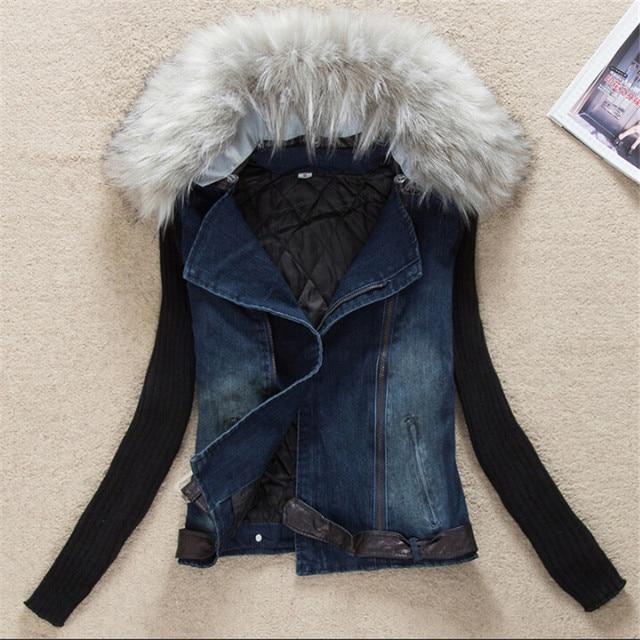 4fb0d060edba Для женщин джинсовая куртка Винтаж осень-весна с меховой воротник женский с  длинным рукавом модное