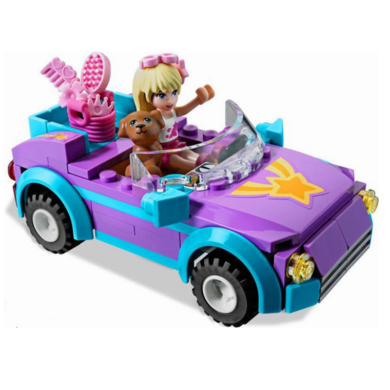 Friends Series Stephanie Convertible Car Mini Bricks Sets Building Blocks Toys for Girls Gifts Compatible  3183 Bela 10167 bela girls friends stephanie pizza shop building blocks set lepine bricks toys compatible with friends pizzeria 41092