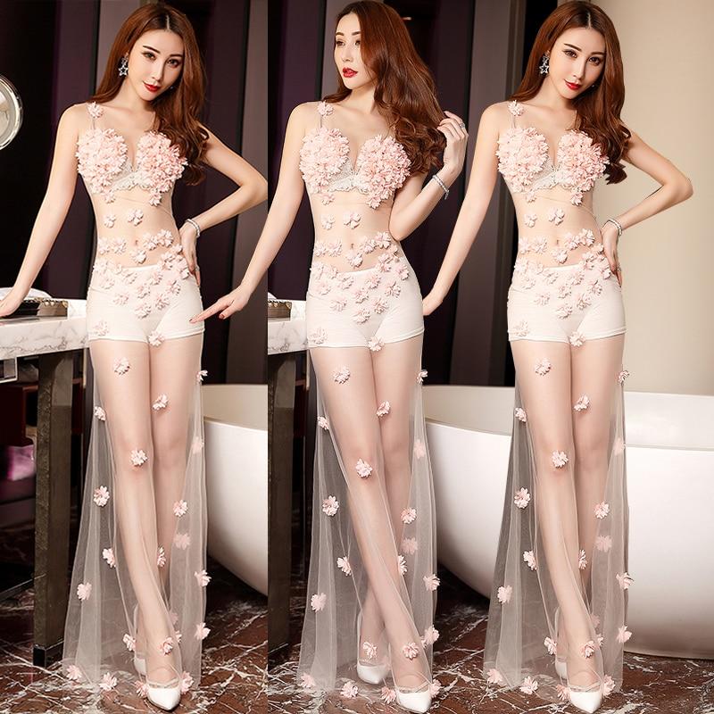 Vêtements Mode Performance Costume Longue Bal Seule Bar Partie Sexy Perspective Discothèque Chanteuse Rose D'une Robe De Célébration Pièce rq6aCr4xw
