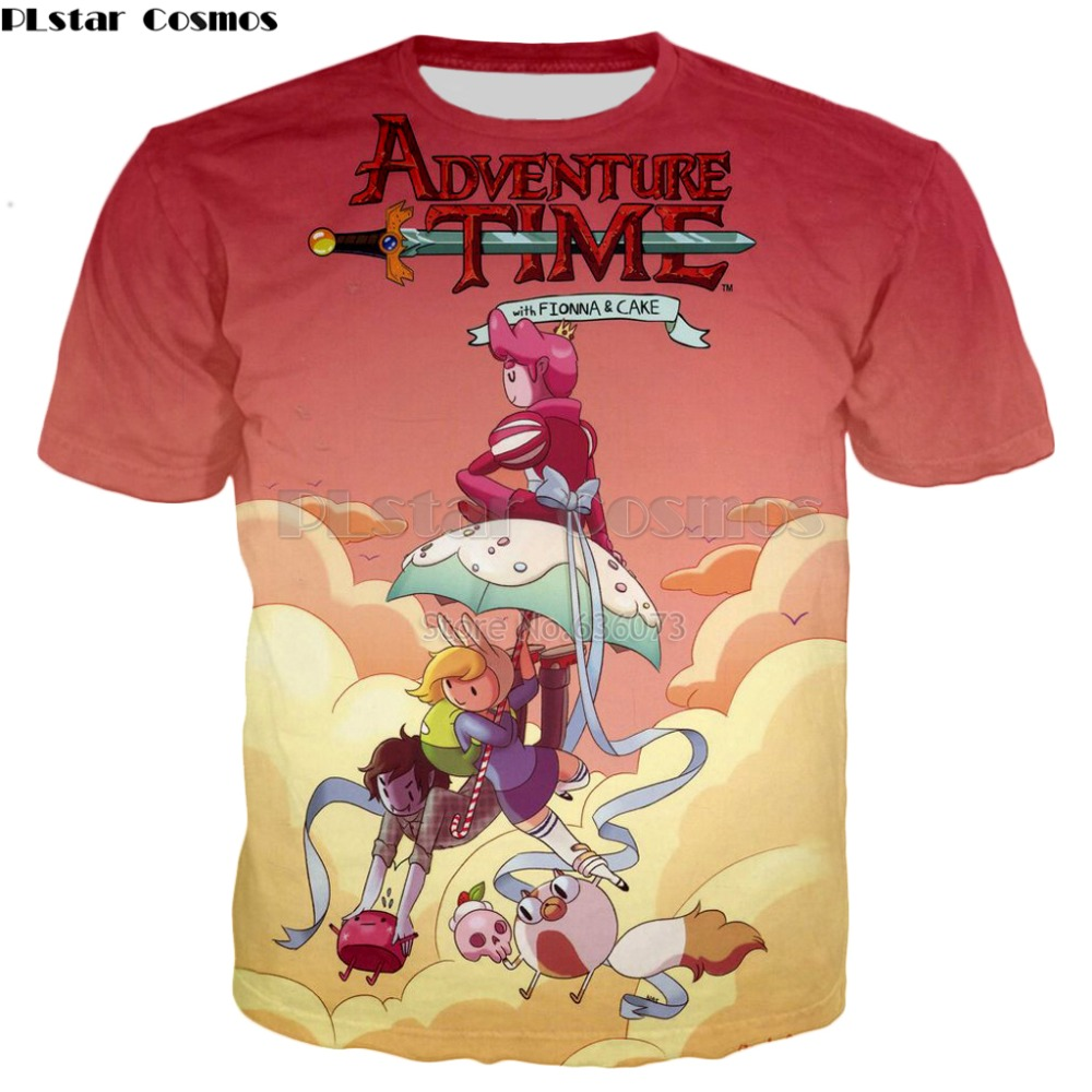 PLstar Cosmos 2018 summer New Fashion   t  -  shirt   Classic cartoon Adventure Time Print 3d   T     shirts   Mens Womens Casual cool   t     shirt