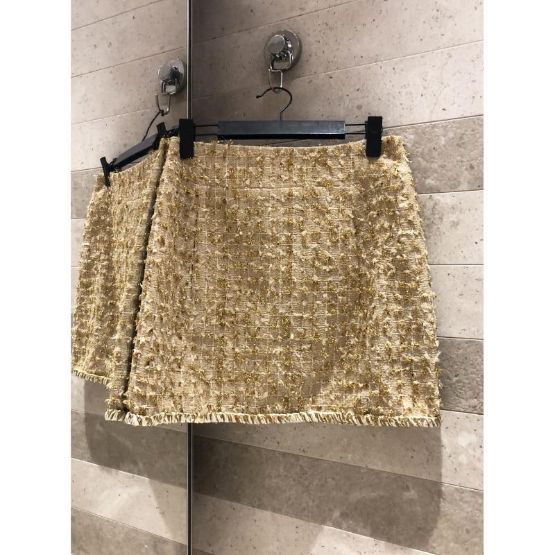 Gold thread weaving tweed high waist slim skirt A word skirt simple temperament high end Button