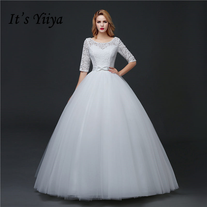 China Long Sleeves Wedding Dress Custom Made Lace Princess: Aliexpress.com : Buy Lace Half Sleeve O Neck Princess