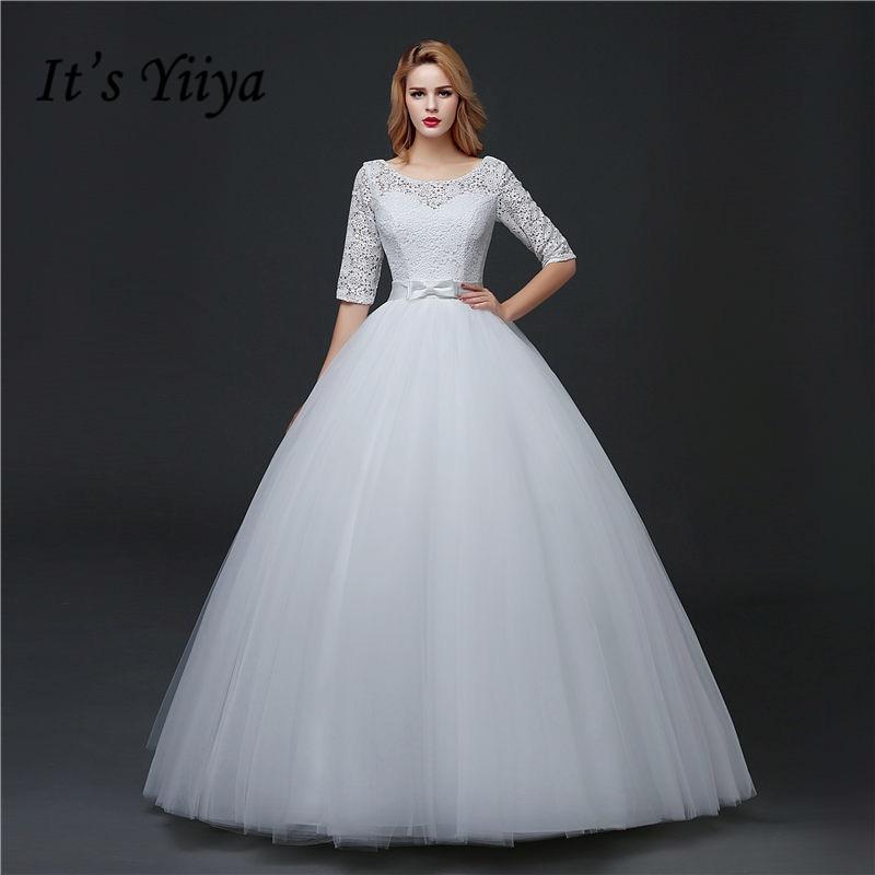 Lace Half Sleeve O Neck Princess Wedding Dresses 2017 Bow Waist Custom Made Classic White Bride Gowns Vestidos De Novia MHS628
