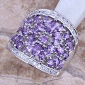Purple Amethyst White CZ 925 Sterling Silver Ring For Women Size 6 / 7 / 8 / 9 / 10 / 11  S0182