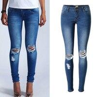 Jesień Mody Kobiet Bielone Denim Jeans Spodnie Slim Ołówek Spodnie Stretch Jeans Dziura Kolano Spodnie Kobiece Niskiej Talii Spodnie Jeansowe