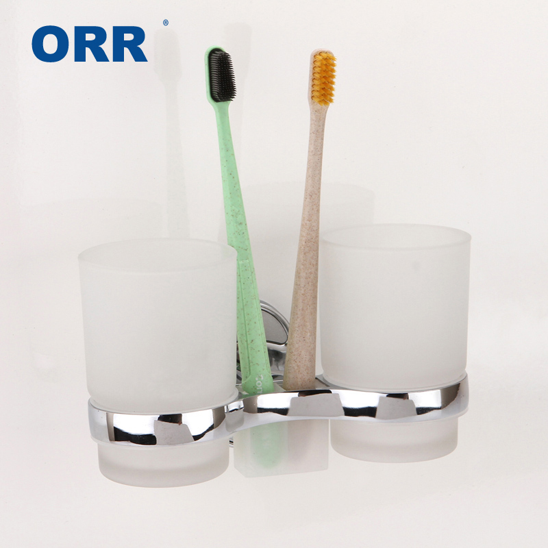 Free shipping new 2018 hot Cup holder Double Frosted Glass Toothbrush Holder Bathroom Accessories ORR image