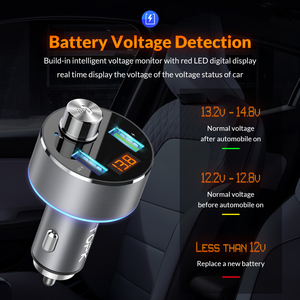 Image 2 - TOPK 車の充電器ワイヤレス Bluetooth FM トランスオーディオ MP3 プレーヤー QC3.0 急速充電デュアル USB 自動車電話の充電器
