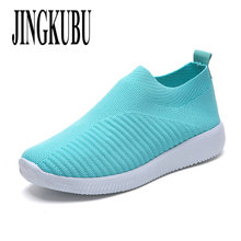 JINGKUBU damskie buty Plus rozmiar 43 kobiety wulkanizacji buty moda skarpety buty kobiet Air Mesh trampki płaskie na co dzień Tenis feminino tanie tanio Dla dorosłych Mieszkanie (≤1cm) Lato Płytkie Slip-on Fabric Pasuje prawda na wymiar weź swój normalny rozmiar Mesh (air mesh)