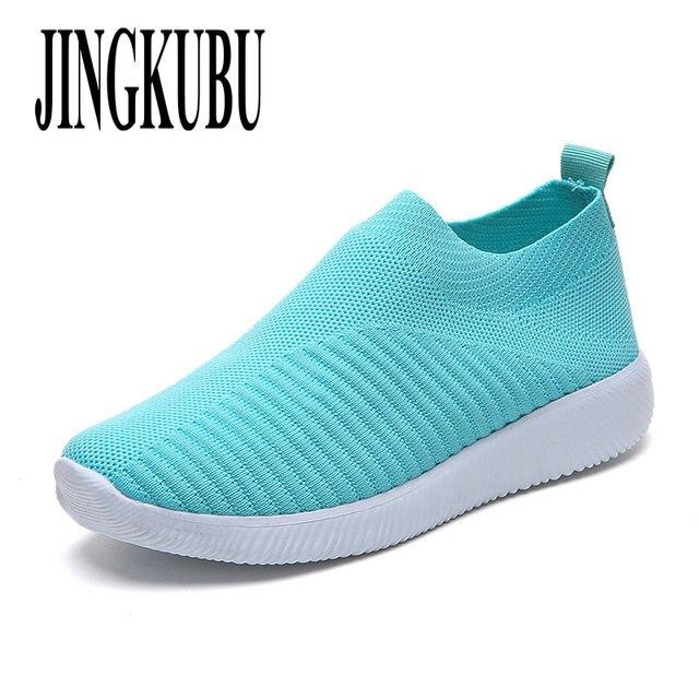 JINGKUBU kadın ayakkabısı Artı Boyutu 43 Kadın Vulkanize Ayakkabı Moda Çorap Ayakkabı Kadın Hava Mesh Sneakers Düz Rahat Tenis Feminino
