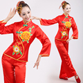 Chinese folk dance costume para la mujer mujer de manga trajes de baile chino tradicional ventilador verde trajes de danza folclórica tradicional