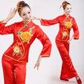 Dança popular chinesa traje para a mulher chinesa trajes de dança trajes de dança folclórica tradicional ventilador tradicional verde mulher manga