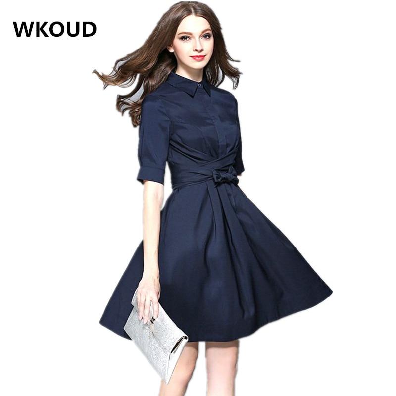 WKOUD 2017 nyári OL ruha félig ujjú sötétkék egyszínű vékony - Női ruházat