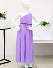 Chiffon One Shoulder Girls Purple Dress