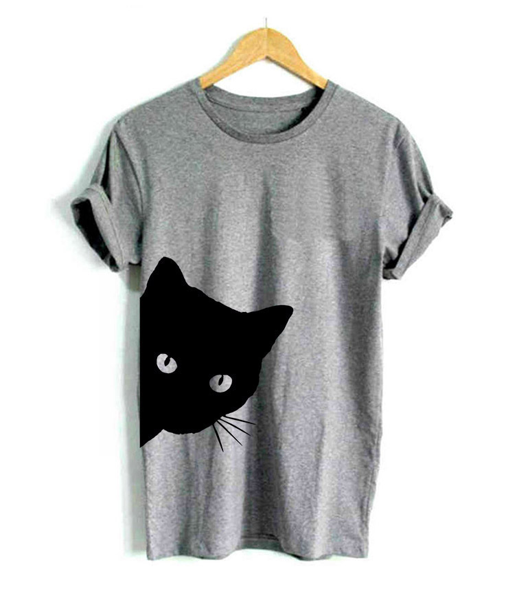 Cat Looking Out Side Print Women Tshirt Cotton Casual Funny   T     Shirt   for Lady Girl Top Tee Hipster Tumblr Drop Ship
