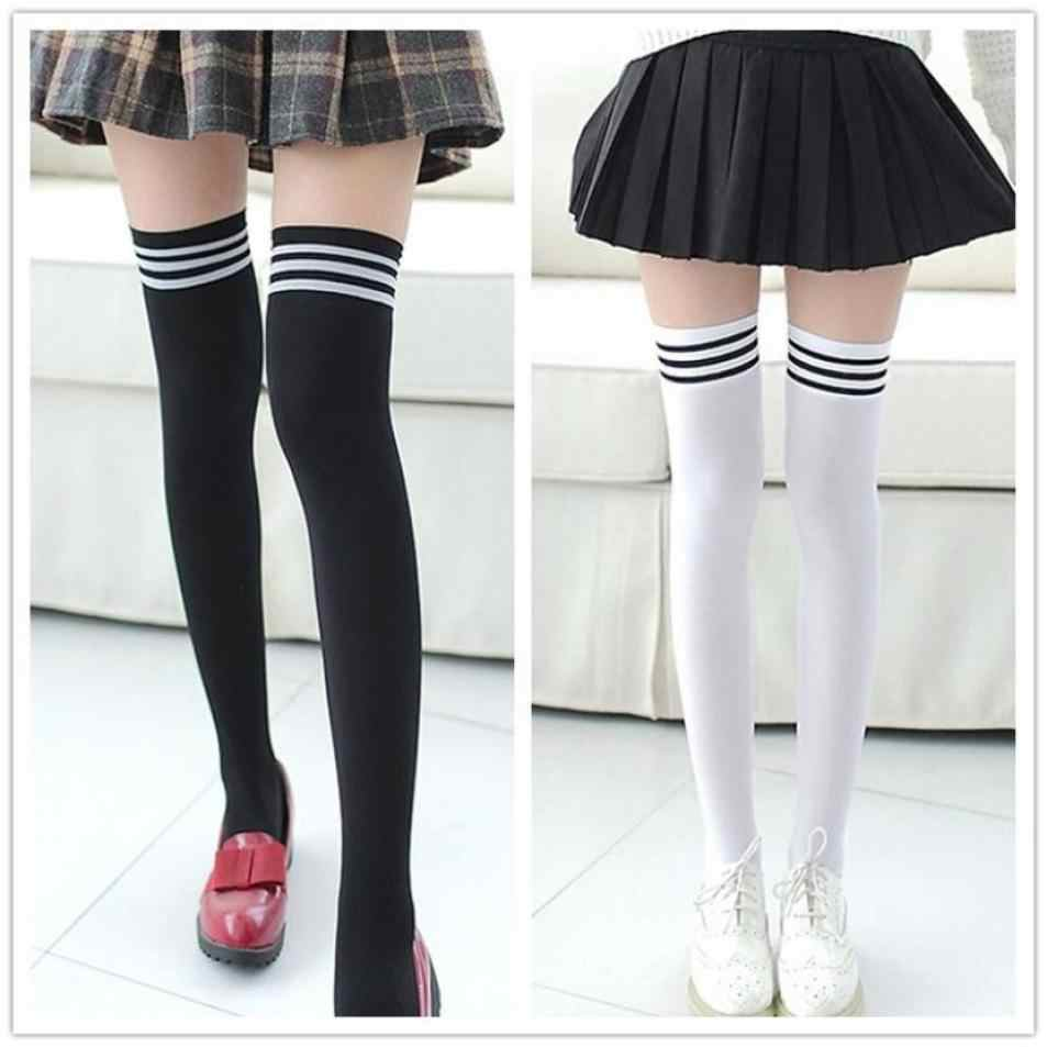 "1 Pair Fashion Thigh High Over Knee High Socks Girls Womens stockings Student Comfortable Elastic Cotton 43cm/16.9"" Lowest Price"