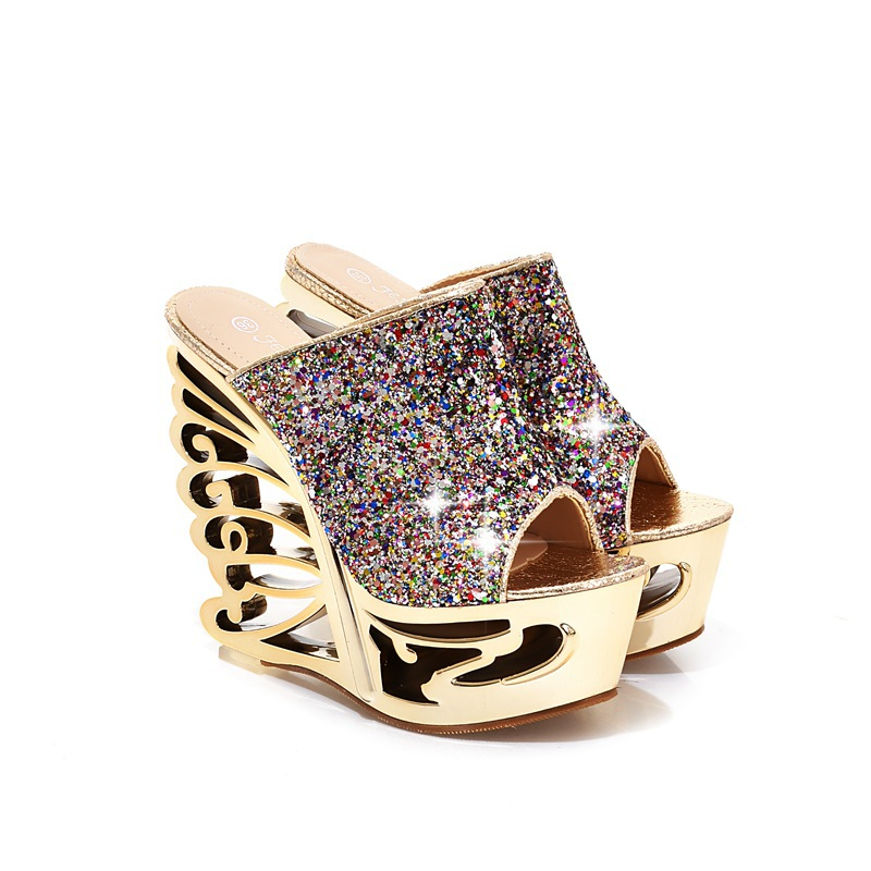 ARMOIRE Brand New Design font b Women b font Platform Sandals Slides Gold Silver Female Sexy
