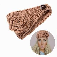 M MISM 2018 Fish Shape Flower Winter Warm Knit Turban Crochet Wide Size Headwrap Wool Solid Headbands Korean Elastic Hair Bands(China)
